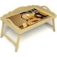 Столик для завтрака в постель «Русская берёза», «Бочонок вина» с 3-мя фигурными бортиками цвет светлый