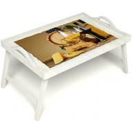 Столик для завтрака в постель «Бочонок вина» с ручками цвет белый