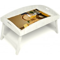 Столик для завтрака в постель «Русская берёза», «Бочонок вина» с высоким бортиком цвет белый
