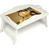 Столик для завтрака в постель «Русская берёза», «Бочонок вина» с фигурным бортиком цвет белый