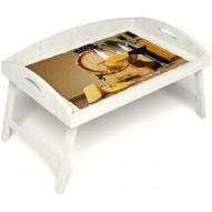 Столик для завтрака в постель «Русская берёза», «Бочонок вина» с 3-мя высокими бортиками цвет белый