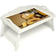 Столик для завтрака в постель «Русская берёза», «Бочонок вина» с 3-мя фигурными бортиками цвет белый