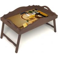 Столик для завтрака в постель «Русская берёза», «Бочонок вина» с фигурным бортиком цвет орех