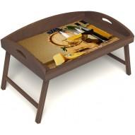 Столик для завтрака в постель «Русская берёза», «Бочонок вина» с 3-мя высокими бортиками цвет орех