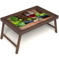 Столик для завтрака в постель «Бокал вина» без ручек цвет орех