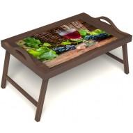 Столик для завтрака в постель «Бокал вина» с ручками цвет орех