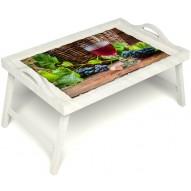 Столик для завтрака в постель «Бокал вина» с ручками цвет белый
