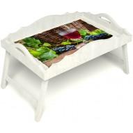 Столик для завтрака в постель «Русская берёза», «Бокал вина» с фигурным бортиком цвет белый