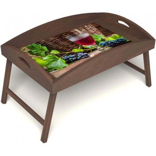 Столик для завтрака в постель «Русская берёза», «Бокал вина» с высоким бортиком цвет орех