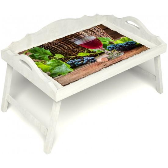 Столик для завтрака в постель «Русская берёза», «Бокал вина» с 3-мя фигурными бортиками цвет белый