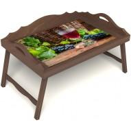 Столик для завтрака в постель «Бокал вина» с 3-мя фигурными бортиками цвет орех