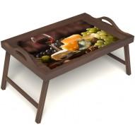 Столик для завтрака в постель «Гурману» с ручками цвет орех