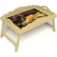 Столик для завтрака в постель «Русская берёза», «Гурману» с фигурным бортиком цвет светлый