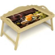 Столик для завтрака в постель «Русская берёза», «Гурману» с 3-мя фигурными бортиками цвет светлый