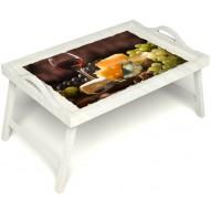 Столик для завтрака в постель «Гурману» с ручками цвет белый