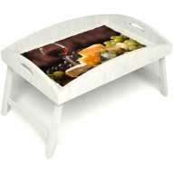 Столик для завтрака в постель «Русская берёза», «Гурману» с высоким бортиком цвет белый