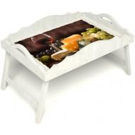 Столик для завтрака в постель «Русская берёза», «Гурману» с фигурным бортиком цвет белый