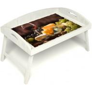 Столик для завтрака в постель «Русская берёза», «Гурману» с 3-мя высокими бортиками цвет белый