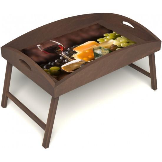 Столик для завтрака в постель «Русская берёза», «Гурману» с высоким бортиком цвет орех