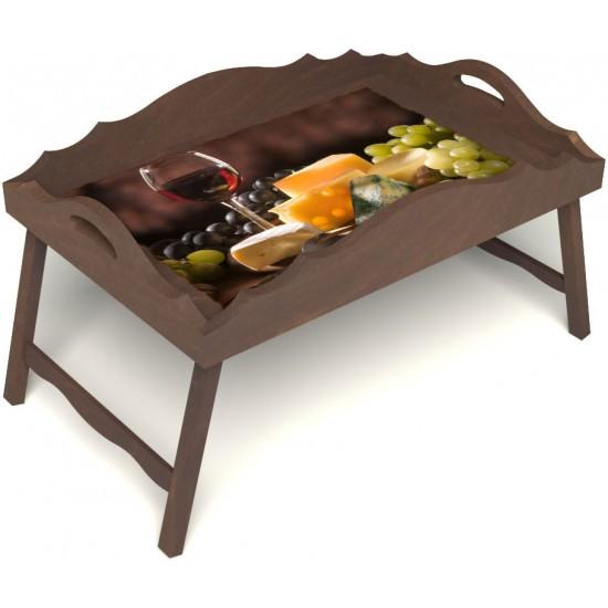 Столик для завтрака в постель «Русская берёза», «Гурману» с фигурным бортиком цвет орех