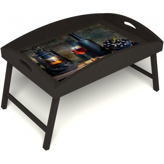 Столик для завтрака в постель «Русская берёза», «Истина в вине» с высоким бортиком цвет венге