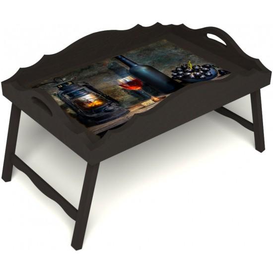 Столик для завтрака в постель «Русская берёза», «Истина в вине» с фигурным бортиком цвет венге