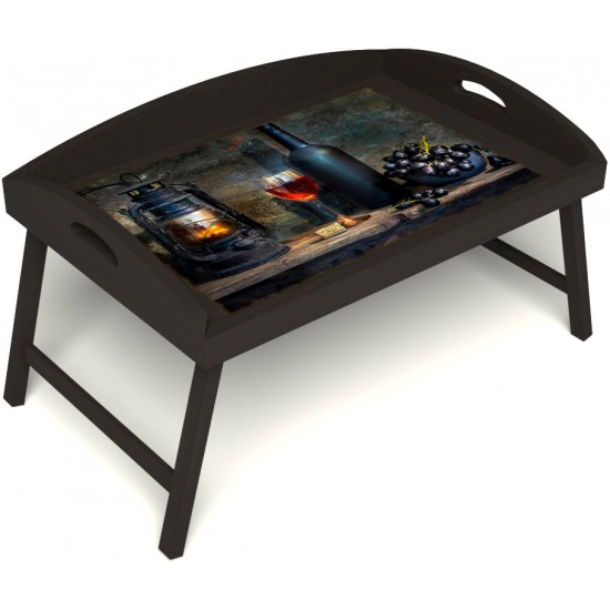 Столик для завтрака в постель «Русская берёза», «Истина в вине» с 3-мя высокими бортиками цвет венге