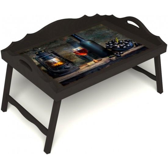 Столик для завтрака в постель «Русская берёза», «Истина в вине» с 3-мя фигурными бортиками цвет венге