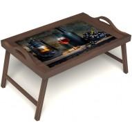 Столик для завтрака в постель «Истина в вине» с ручками цвет орех