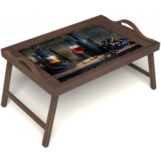 Столик для завтрака в постель «Русская берёза», «Истина в вине» с ручками цвет орех