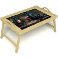 Столик для завтрака в постель «Русская берёза», «Истина в вине» с ручками цвет светлый