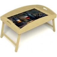 Столик для завтрака в постель «Русская берёза», «Истина в вине» с высоким бортиком цвет светлый