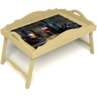 Столик для завтрака в постель «Русская берёза», «Истина в вине» с фигурным бортиком цвет светлый