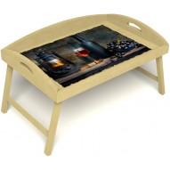 Столик для завтрака в постель «Русская берёза», «Истина в вине» с 3-мя высокими бортиками цвет светлый