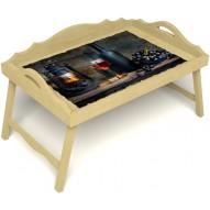 Столик для завтрака в постель «Русская берёза», «Истина в вине» с 3-мя фигурными бортиками цвет светлый