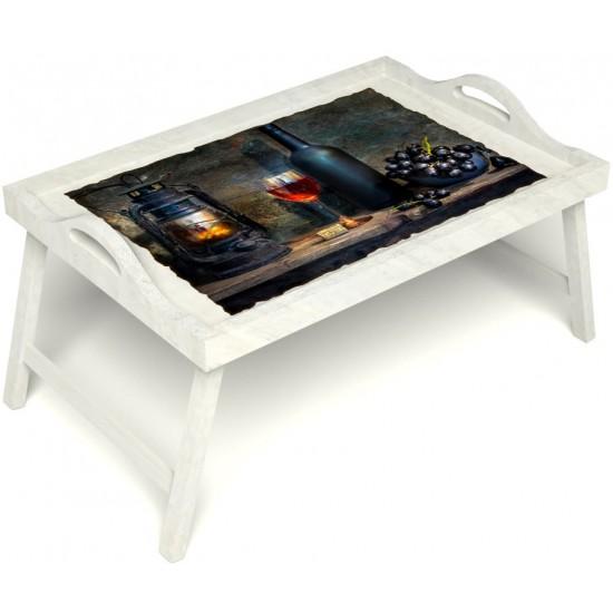Столик для завтрака в постель «Русская берёза», «Истина в вине» с ручками цвет белый