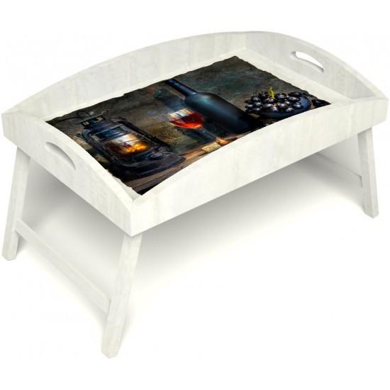Столик для завтрака в постель «Русская берёза», «Истина в вине» с высоким бортиком цвет белый