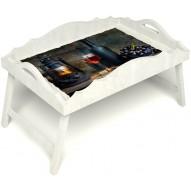 Столик для завтрака в постель «Русская берёза», «Истина в вине» с фигурным бортиком цвет белый
