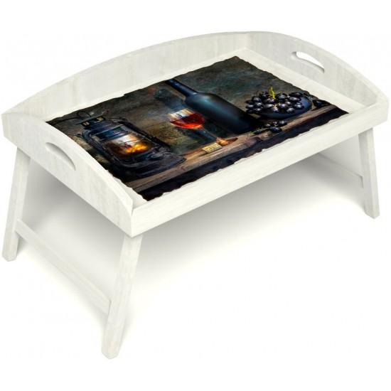 Столик для завтрака в постель «Русская берёза», «Истина в вине» с 3-мя высокими бортиками цвет белый