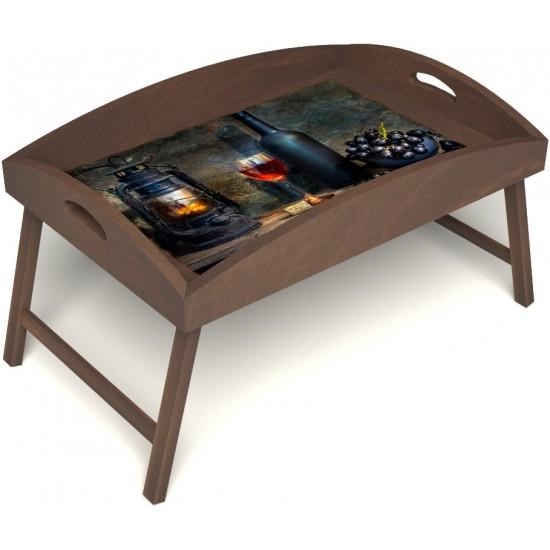 Столик для завтрака в постель «Русская берёза», «Истина в вине» с высоким бортиком цвет орех