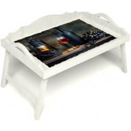 Столик для завтрака в постель «Русская берёза», «Истина в вине» с 3-мя фигурными бортиками цвет белый