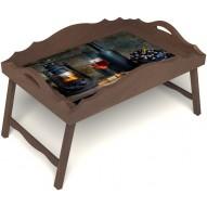 Столик для завтрака в постель «Русская берёза», «Истина в вине» с фигурным бортиком цвет орех