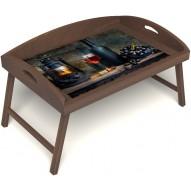 Столик для завтрака в постель «Русская берёза», «Истина в вине» с 3-мя высокими бортиками цвет орех