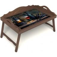 Столик для завтрака в постель «Истина в вине» с 3-мя фигурными бортиками цвет орех