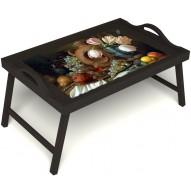 Столик для завтрака в постель «Изобилие» с ручками цвет венге