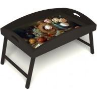 Столик для завтрака в постель «Изобилие» с высоким бортиком цвет венге