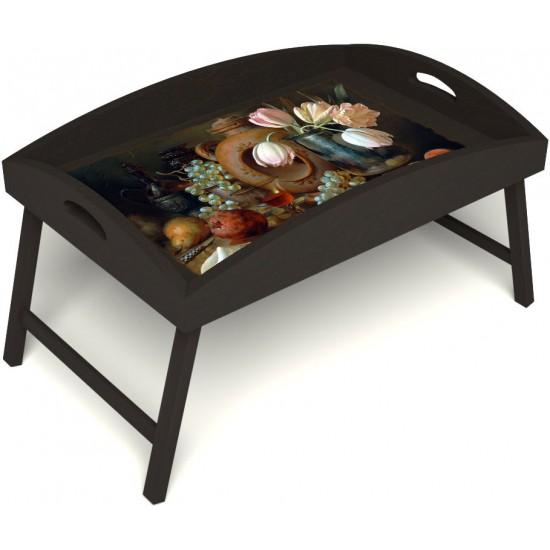 Столик для завтрака в постель «Русская берёза», «Изобилие» с высоким бортиком цвет венге