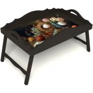 Столик для завтрака в постель «Русская берёза», «Изобилие» с фигурным бортиком цвет венге