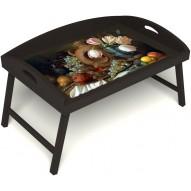 Столик для завтрака в постель «Русская берёза», «Изобилие» с 3-мя высокими бортиками цвет венге
