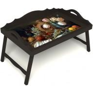 Столик для завтрака в постель «Изобилие» с 3-мя фигурными бортиками цвет венге